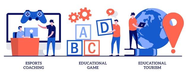 Entrenamiento de deportes, juego educativo, concepto de turismo educativo