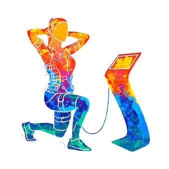 Entrenamiento ems. chica abstracta haciendo sentadillas en traje con cables de salpicaduras de acuarelas. ilustración de pinturas
