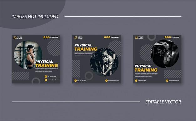 Entrenamiento físico gimnasio oferta redes sociales publicidad
