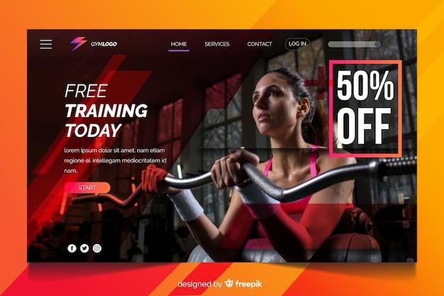 Entrenamiento gratuito hoy página de inicio de promoción de gimnasio