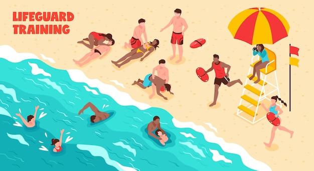 Entrenamiento horizontal de salvavidas que muestra a las personas que nadan y ahorran ahogamiento en el agua y en la playa