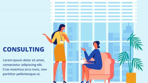 Entrenamiento de la mujer. tiempo de consulta para el cliente. vector