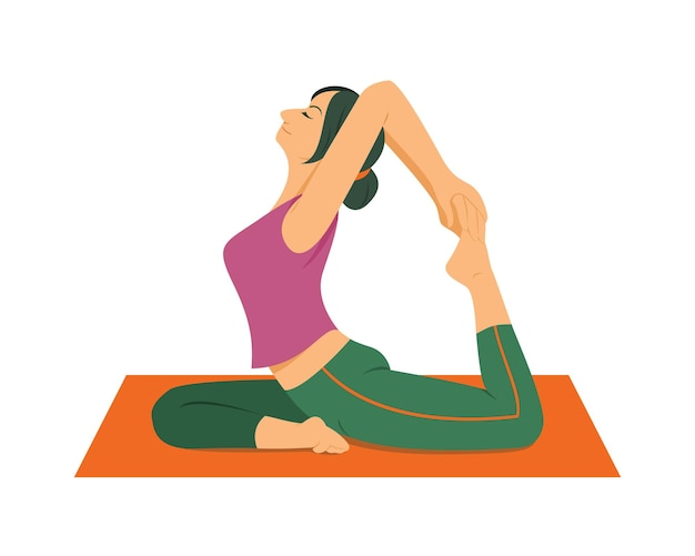 Entrenamiento de mujer por yoga.