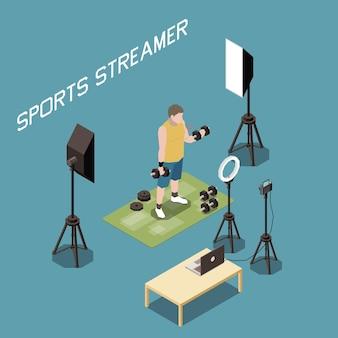 Entrenamiento de streamer deportivo con mancuernas en vivo 3d isométrico Vector Premium