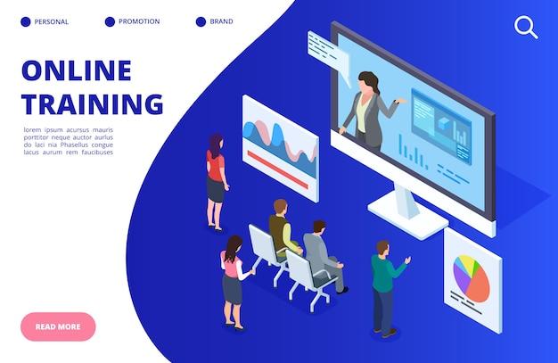 Entrenamiento en video isométrico en línea, ilustración de seminario web. banner de educación en línea, concepto de página de destino