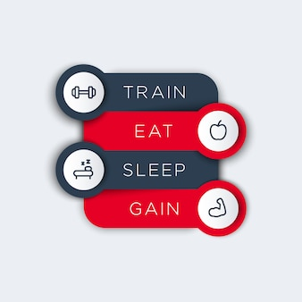Entrenar, comer, dormir, etiquetas de pasos con iconos de línea de fitness, concepto de principios de entrenamiento físico, ilustración