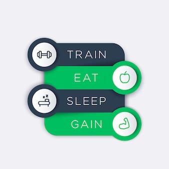 Entrenar, comer, dormir, etiquetas de pasos con íconos de línea de fitness, principios básicos de entrenamiento