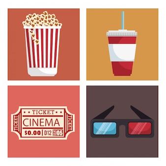 Entretenimiento de cine set iconos