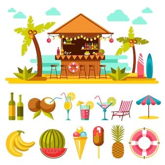 Entretenimientos de playa y conjunto de elementos abajo en blanco.