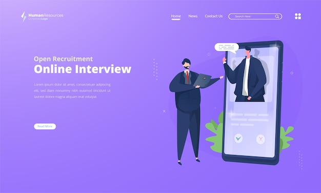 Entrevista en línea para ilustración de contratación abierta en la página de destino