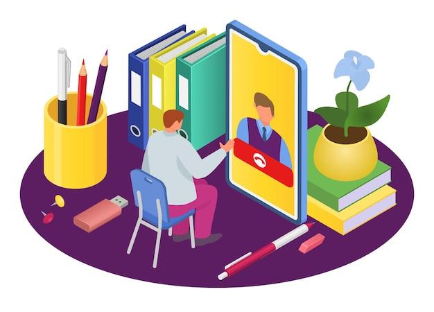 Entrevista en línea con personas, ilustración vectorial, comunicación empresarial por concepto de teléfono inteligente, carácter de trabajador hombre habla en tecnología de internet.