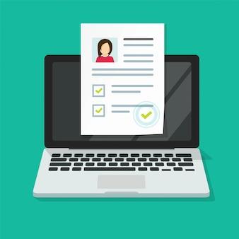 Entrevista personal en línea con documento de investigación de datos de habilidades en computadora portátil o aplicación de prueba de reclutamiento digital de internet con lista de verificación de aprobación plana