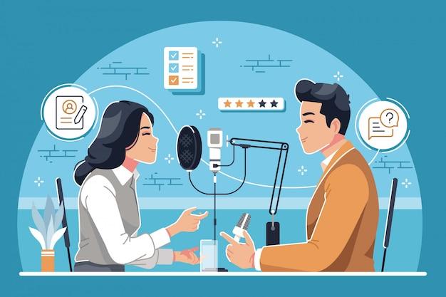 Entrevista de podcast diseño plano ilustración de fondo