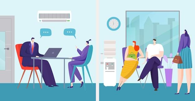 Entrevista de trabajo en concepto de oficina