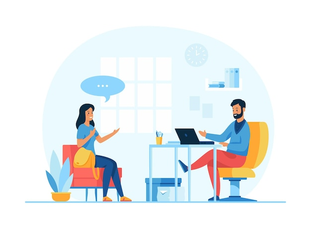 Entrevista de trabajo. empleador de personajes de dibujos animados y candidato de trabajo. negociación con solicitante de empleo. ilustración vectorial plana