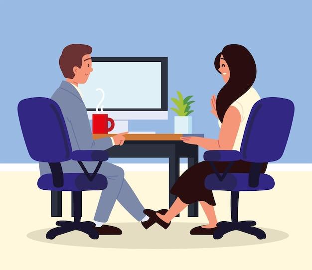 Entrevista de trabajo, encuentro, hombre y mujer, hablar