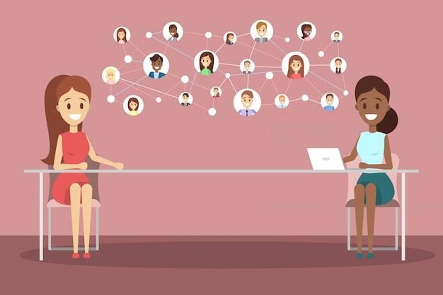Entrevista de trabajo en línea. gerente de recursos humanos en busca de un candidato para trabajar en internet. concepto de reclutamiento ilustración