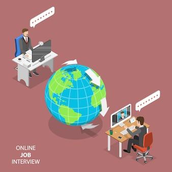 Entrevista de trabajo en línea plana isométrica.