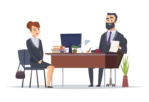 Entrevista de trabajo. oficina de negocios reunión hr gerentes directores jefe concepto personajes