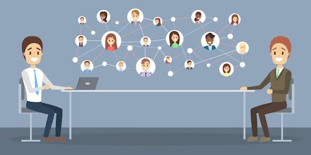 Entrevista de trabajo online. gerente de recursos humanos que busca un candidato para un puesto de trabajo en internet. concepto de contratación. ilustración vectorial plana