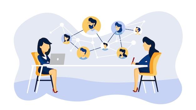 Entrevista de trabajo online. gerente de recursos humanos que busca un candidato para un puesto de trabajo en internet. concepto de contratación. ilustración