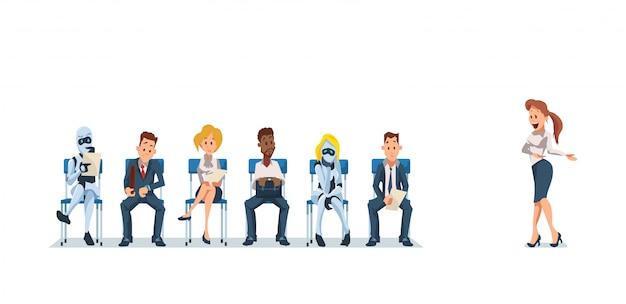 Entrevista de trabajo de reclutamiento y robots. vector.