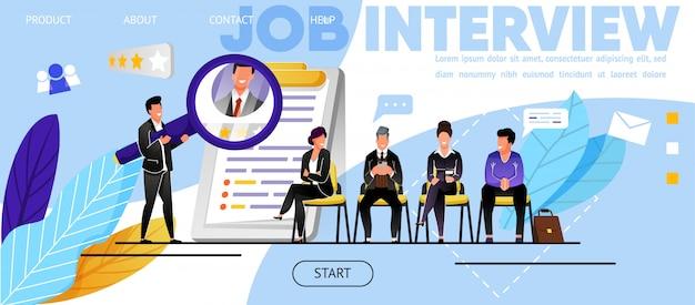 Entrevista de trabajo, reclutamiento. sitio web, página de destino
