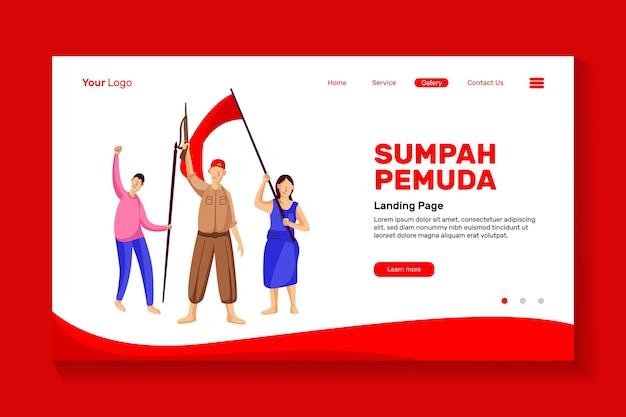 Entusiasmo de los jóvenes para conmemorar el día del juramento de la juventud de indonesia por el juramento de la juventud del diseño de la página de inicio del sitio web