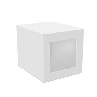 Envasado de caja de papel en blanco con ventana de plástico