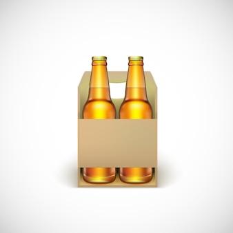 Envasado de cerveza, aislado sobre fondo blanco.