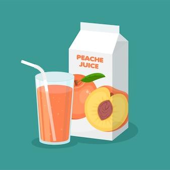 Envasado de jugo de melocotón de vector y vaso lleno aislado sobre fondo azul. plantilla de paquete de cartón para su diseño. nutrición orgánica saludable.