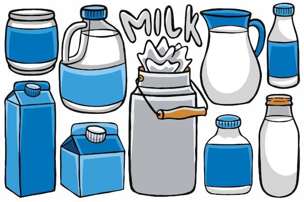 Envasado de leche lindo en estilo de diseño plano