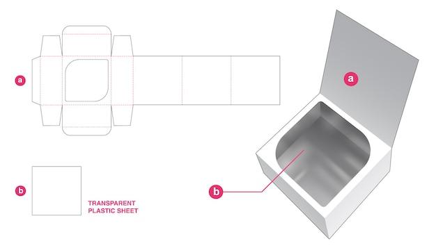 Envase abatible y ventana oculta con plantilla troquelada de hoja de plástico transparente