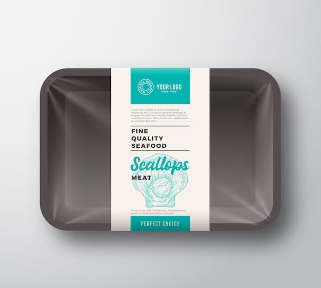 Envase de bandeja de plástico abstracto premium seafood pack con celofán