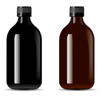 Envase de botellas de productos médicos, vape e líquido, aceite.