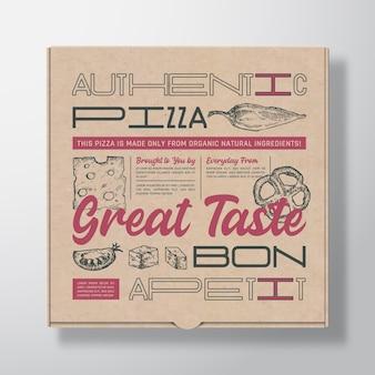 Envase de caja de cartón realista de pizza. maqueta de empaque