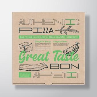 Envase de caja de cartón realista de pizza