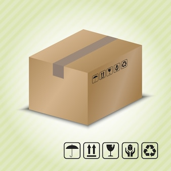 Envase de cartón con símbolo de manipulación de paquetes.