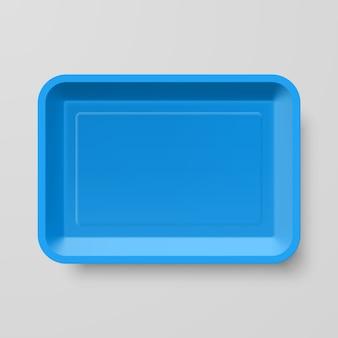 Envase de comida de plástico azul vacío sobre fondo gris