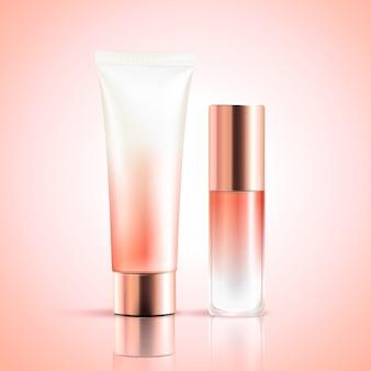 Envase cosmético en blanco sobre fondo rosa en ilustración 3d