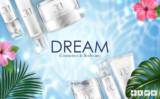 Envase de crema cosmética para el cuidado de la piel