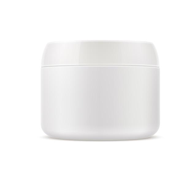 Envase de crema cosmética realista para el cuidado de la piel. tarro de crema de belleza en blanco, maquillaje, envase de loción exfoliante sin marca.