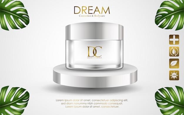 Envase poner crema cosmético aislado en el fondo blanco