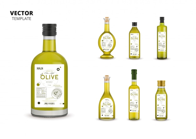 Envases de botellas de vidrio de aceite de oliva virgen extra ecológico