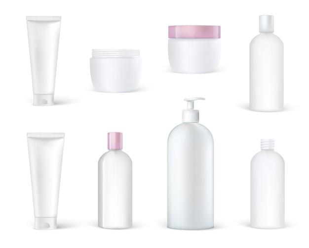 Envases y cajas de plástico de envases cosméticos realistas