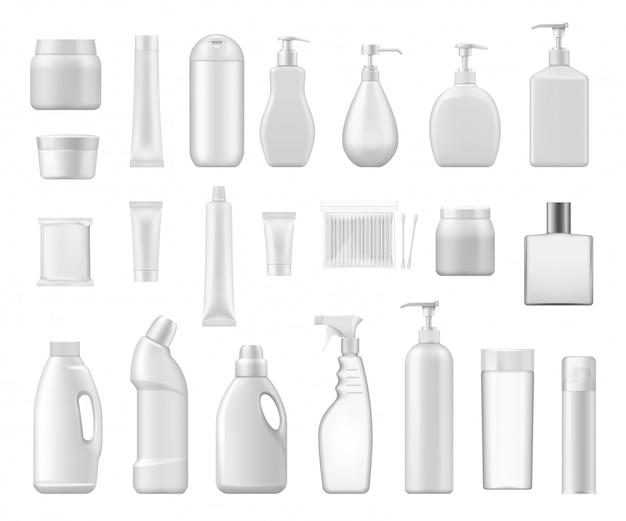 Envases cosméticos y botellas de plástico químico.