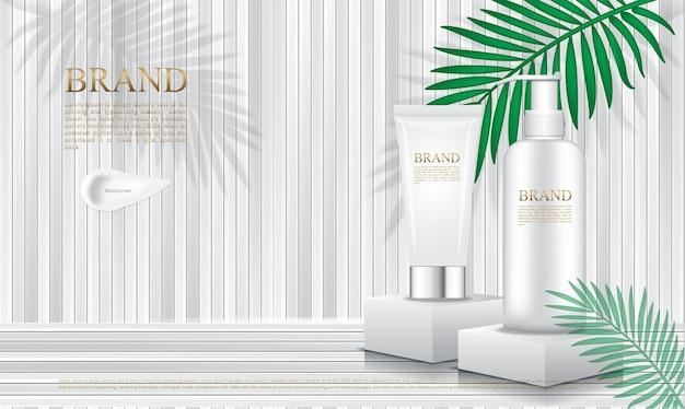 Envases de cosméticos en podio con listón blanco