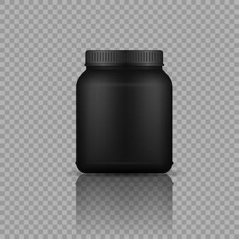 Envases negros de comida deportiva botella de plástico negro realista con proteína