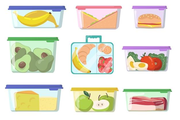 Envases de plástico con varios alimentos planos.