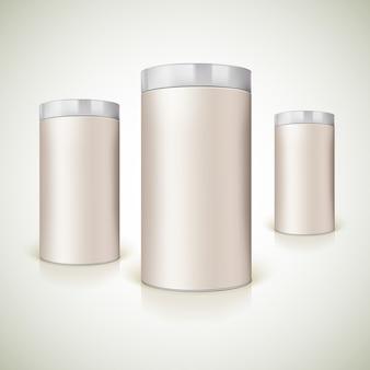 Envases redondos para la presentación de producto.
